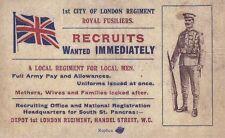 World War I Recruitment Card Recruits Wanted Immediately! 1st London Regiment