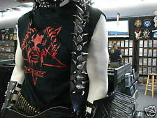 LEATHER GIANT SPIKED GUITAR STRAP BUCKLE UP DEATH METAL...(MDLS0055)...CARNIVORE