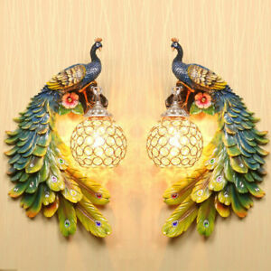 Peacock Wall Lamp Bedroom Wall Lamp Background Wall Decorative Installation