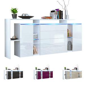 Sideboard TV Board Anrichte Kommode Lissabon V2 Weiß - in Hochglanz & Naturtönen