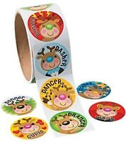 Roll of 100 - Reindeer Christmas Stickers - Loot Party Bag Fillers