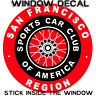 SPORTS CAR CLUB OF AMERICA SAN FRANCISCO REGION WINDOW DECAL STICKER-SCCA RACING