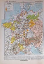 HISTORICAL MAP THIRTY YEAR WAR BOHEMIA BAVARIA NETHERLANDS FREE CITIES SAXONY