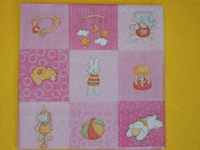 6 servilletas Baby juguetes rosa serviettentechnik Babies Toys pequeños motivos