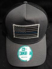 New Era Grey/Black Mesh Snapback Hat/Cap With American Flag Thin Blue Line Patch