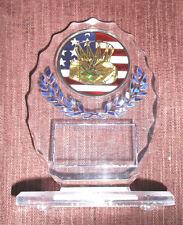 Basketball trophy clear acrylic oval award patriotic blue trim