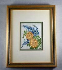 More details for vintage kensitas flower silk delphinium and geum framed and glazed c1935