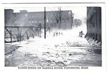 Fitchburg, MA, Flood Scene on Nashua River, 1930's postcard