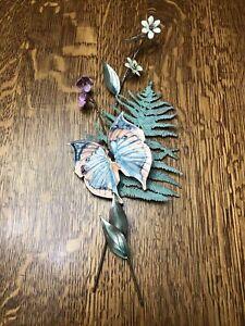 """Bovano Butterfly/Fern/Leaves/Flowers Enamel Metal Wall Art Sculpture 15"""" Tall"""