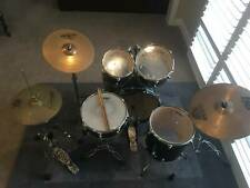 Black Drum Kit, 5 Piece with Cymbals and Sticks