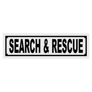 Search & Rescue Title Reflective Decal Sticker Helmet Window - Black Color