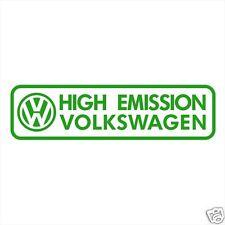 VW VOLKSWAGEN HIGH EMISSION FUNNY BUMPER DECALS STICKERS GOLF PASSAT JETTA CC
