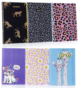 A4 Student Fashion Notebook Hardback Journal Pad 200 Ruled Pages Note Book Style