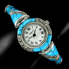 Sterling Silver 925 Genuine Cabochon Turquoise and Marcasite Watch 7 Inch
