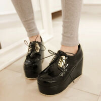 Womens Casual Wedge High Heels Round Toe Lace Up Creepers Platform Solid Shoes