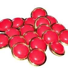 Mercerie Lot de 6 boutons métal doré et plastique rouge vermillon 22mm button