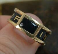 1870 Victorian 18ct Gold and Enamel In Memory Of Mourning Stack Band Ring d0273