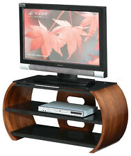 Walnut Table Top TV Stand with Black Tempered Glass for TV's up to 55""