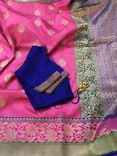 Pink Banaras Pure Silk/Pattu Saree Blouse & Fall Stitched Size 34-40USA Seller