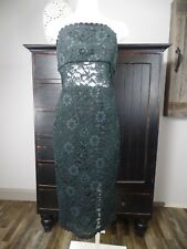 ABS Womens 8 Dark Green/Black Lace Strapless Midi Cocktail Sheath Dress