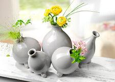 5 Keramik-Vasen in edlem Steingrau   5-teilig Keramikvasen Blumenvasen Deko