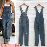 Womens Denim Suspender Pant Loose Overalls Ladies Ripped Casual Dungarees Jeans