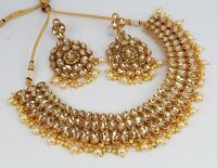 Kundan AD Gold Plated New Indian Fashion Ethnic Jewelry Necklace Earring Set New