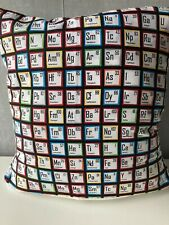 """16"""" Square Cushion Cover 'Science Fair Periodic Table' in 100% Cotton Fabric"""