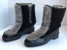 Snowland Boots Size 7 Winter Ski Faux Fur Black & Grey w/Trim Vintage Warm