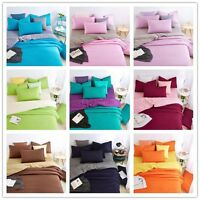 Double Solid Color Doona Cover Cotton Duvet Cover Set Bedding Single Queen King