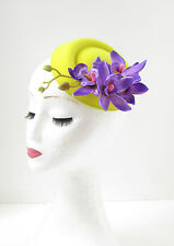 Yellow & Purple Orchid Flower Pillbox Hat Fascinator Races Rockabilly 1950s 196