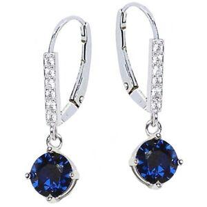 Natürlicher blauer Saphir Ohrringe Retro Edelstein Rhombus Damenschmuck B7D7
