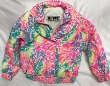 VTG 90s Bright Neon Pink Purple Yellow Green Roffe Ski Jacket Womens Size 10