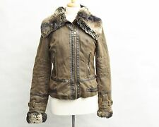 Miss Sixty Womens Jacket Small Military Brown Boomer Fur Collar & Cuff Removable