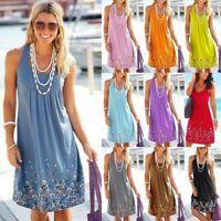 Women's Boho Summer Beach Dresses Evening Party Mini Maxi Ladies Sundress Dress