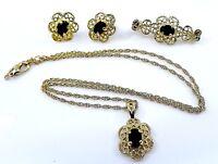 Jewelry Parure 3pc Set Filigree Black Glass Stone Goldtone