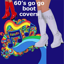 Ladies Go Go White Shoe Covers Girl Boot Tops 1960s Hippie Costume 1980s disco
