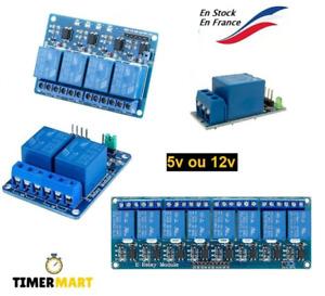Module relais 5V ou 12V / 1,2,4 canaux optocoupleurs Arduino Raspberry TimerMart