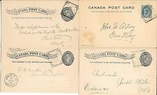 CANADA-Caboose lot of 4 squared circle postal cards-1895-1898-all diff. ( nice )