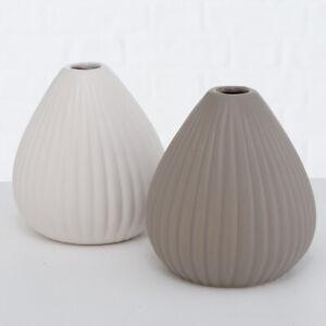 Contemporary Stone Embossed Round White & Grey Bottle Flower Bud Vase Art 11cm
