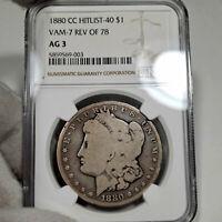 1880-CC AG3 VAM-7 Morgan Silver Dollar $1, NGC Graded AG 03, Reverse of 1878