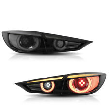 VLAND 2* LED Smoked Tail Lights Fit For 2014-2018 Mazda 3 sedan Sequential Set