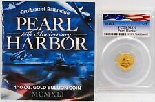 2016-P $15 Pearl Harbor 1/10 oz. .9999 Gold Coin PCGS MS70 Perth Mint