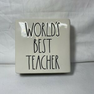 """Rae Dunn Paperweight """"WORLDS BEST TEACHER"""" Sign Art Decoration"""