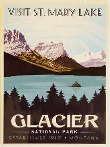 Visit St. Mary's Lake Montana Glacier National Park Postcard