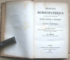Médecine HOMOEOPATHIQUE Chepmell 1885 régime hygiène traitement Homeopathie BE