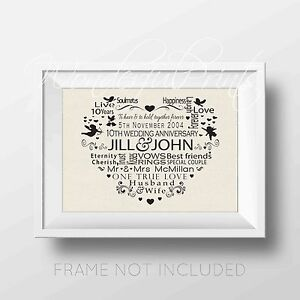 Personalised Wedding Word Art ANY Anniversary Year Gift Print 1st 10th 25th 50th