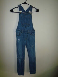 **GAP** Girl's Denim Distressed Jeans Overalls Size(M R 8/9)100%Cotton