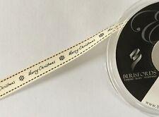 13500 berisfords Charcoal on cream merry Christmas ribbon 15mm x 1m gift wrap
