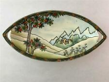 Antique Hand Painted Nippon Porcelain Dish with Fruit Tree & Landscape